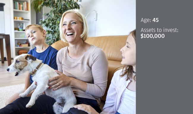 image of woman laughing with children and a dog