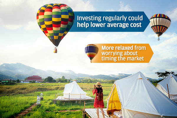 With dollar cost averaging, you can be more relaxed from worrying about timing the market