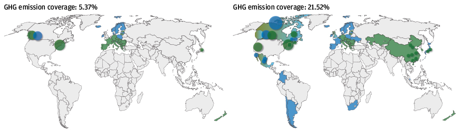Two world maps show the rising number of countries and regions covered by carbon regulation, 2010 vs. 2021 with China a key new entrant.