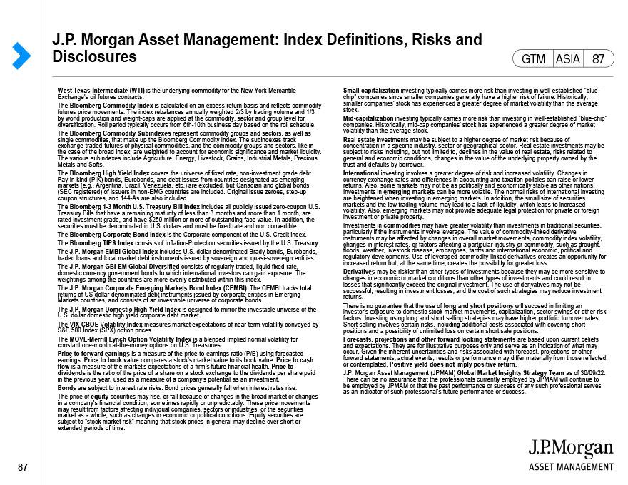 J.P. Morgan Asset Management – Index Definitions, Risks & Disclosures